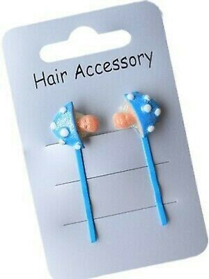 New on Card Pair of Blue Pink Purple Toadstool Hair Grips Accessories FREE POST
