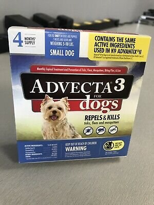 Advecta 3 Flea Small Dog 5-10 Lbs 4 Month Supply Same Ingredients K9 Advantix II