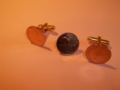 HALF PENNY (HALF PENCE) COIN - CUFF LINKS & TIE PIN SET - 1981 - 39th BIRTHDAY