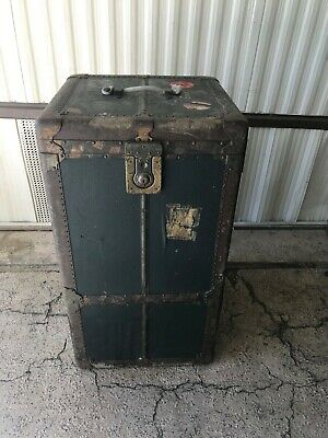 VINTAGE Antique WARDROBE Trunk with drawers and hangers