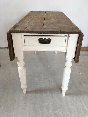 Antique Pine Drop Leaf Table (Scrub Top) NW Leicestershire.