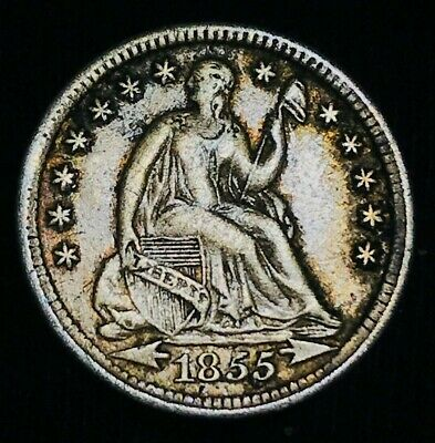 1855 Seated Liberty Half Dime 5C High Grade XF Details US Silver Coin CC1877