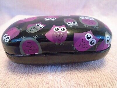 Small Hand Painted Black Lacquer with Owls Hinged Trinket Box with Mirror