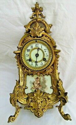 1890 Antique French Style Waterbury Gold Gilt Ornate Cherub Mantle Clock Ormulo