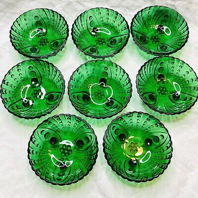 """SET OF 8  Vintage Emerald Green Glass Hobnail Style 3-Footed Bowls Nut Dish 4.5"""""""