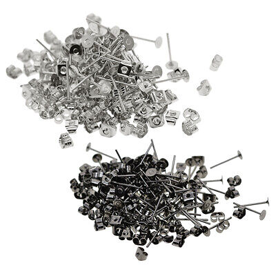 400 Pieces Crafts Iron Earrings Posts Flat Pad with Blank Flat Findings Earring