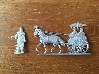 Chinese Nobleman in Carriage - Two Unpainted 30mm Lead Flat Figures