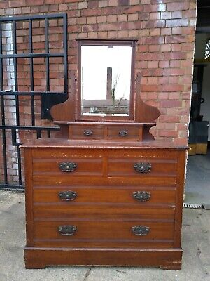 Edwardian Pine Chest Of Drawers With Mirror (NW Leicestershire)