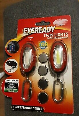 Eveready twin pack cob keyrings led torch,with carabiners