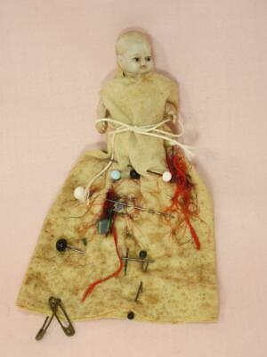 *Antique Bisque Baby Doll Sewing Pin Holder / Cushion with Glass Head  Pins