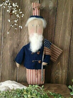 NEW!!  Primitive Handmade 4th Of July Americana Folk Art UNCLE SAM Stump Doll