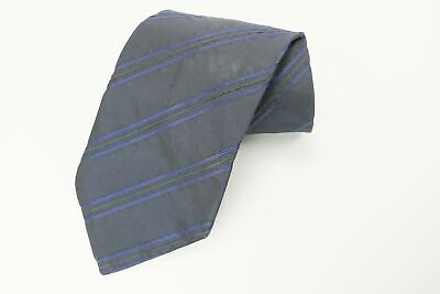 Hugo Boss Italy Necktie Navy Blue Black Striped Neck Tie 58""