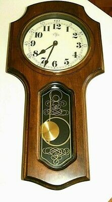 Beautiful Vintage Antique Elgin Regulator Walnut Wall Clock