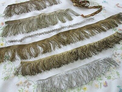Lot Antique French Passementerie Gold Silver Colour Wire Work Fringe Edging Trim