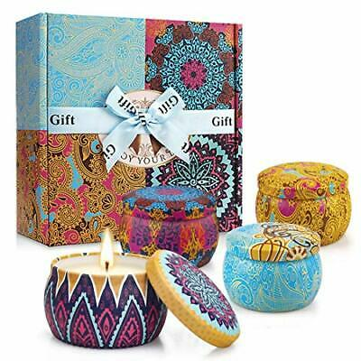 Hausware Scented Candles Gift Set of 9 Natural Soy Wax Aromatherapy Portable Travel Tin Candle