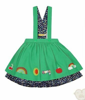 Little Bird by Jools Oliver Green Embroidered Braces Skirt Age 2-3 Years Rainbow