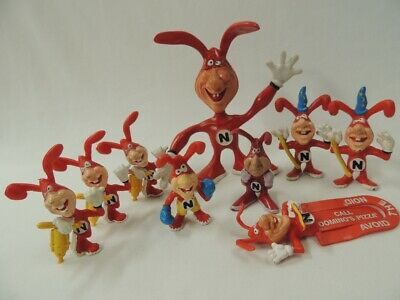 (9) Vintage 1986-89 Avoid the Noid Dominos Claymation Action Figures & Clip