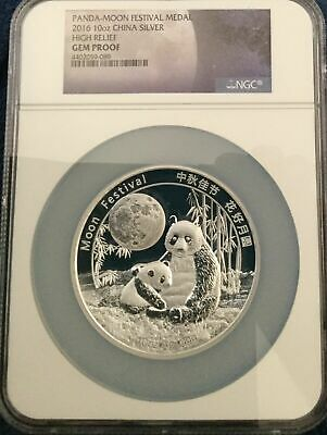 2016 CHINA PANDA SILVER MOON FESTIVAL NGC 10oz PROOF MEDAL Ultra Cam YUAN 4/2020