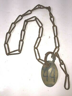 Vintage Original Brass Cow Tag Numbered Cattle Neck Chain Marker #44