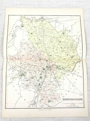 1889 Antique Map of Huntingdon Ramsey Kimbolton St Ives St Neots 19th Century