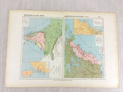 1888 French Map of 18th Century United States Formation Hindustan India Historic