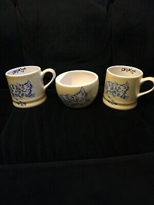 Whittard Of Chelsea Alice In Wonderland Cheshire Cat Cups/Mugs  And Sugar Bowl