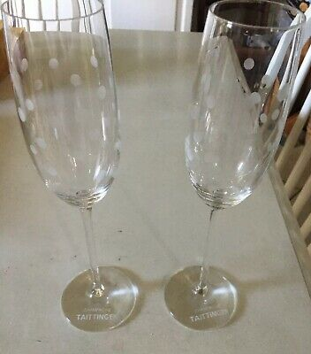 Pair Vintage Taittinger Champagne Flutes, Used Once Or Twice