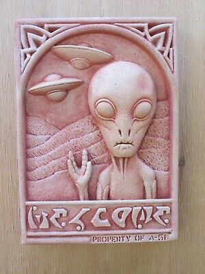 Aliens & Area 51 Welcome Sign, Sculpture, Art Plaque, Garden Plaque, Cast Stone