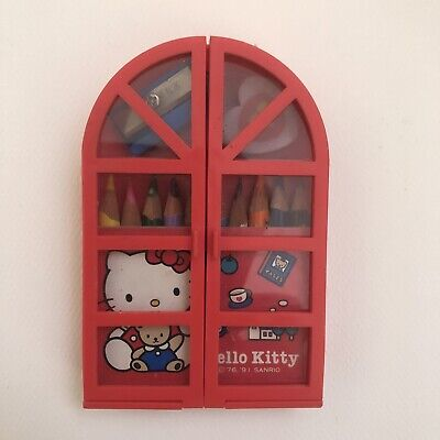 CUTE Vintage Hello Kitty Sanrio Mini Art Set with Case 1991 Red Japan