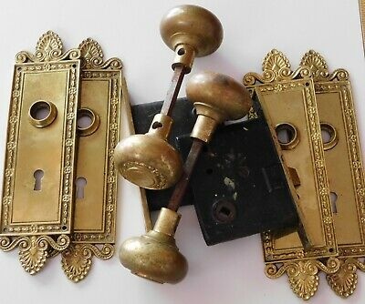Two Antique Cast Brass Mortise Lock Sets, Plates & Knobs.