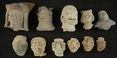 11 Ancient Pre-Columbian Pottery Heads from Ecuador, Manabi /Bahia & Mantena