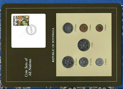 Coin Sets of All Nations Botswana 1981 & 1984 UNC cows 1 Pula 2 Thebe 81