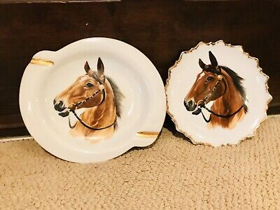 Horse Head Plates Pair Large Small White Gold Rim