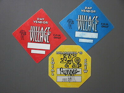 Lollapalooza backstage pass satin cloth stickers THREE Alice In Chains, Rage '93