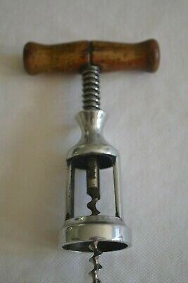 Vintage Mechanical corkscrew with open barrel, spring and wooden handle
