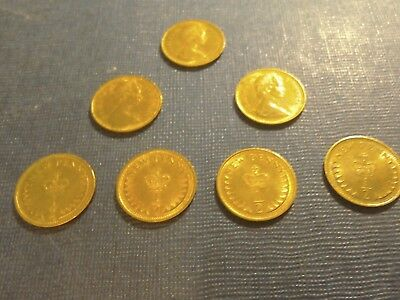 English Coins 7 x 1/2 New Pennies dated 1971.Circulated but bright finish.