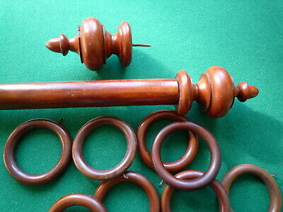 Large Antique Curtain Pole,9 Rings & 2 End Finials