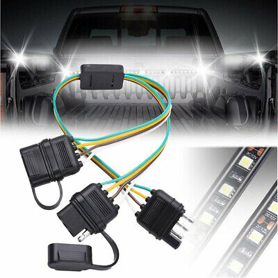 2 Way Y-Splitter Adapter 4-Pin Trailer Extension Harness Connector W/ Dust Cap