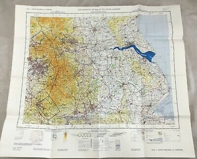 1966 Vintage Military Map of Yorkshire Midlands Topographical Flight Chart RAF