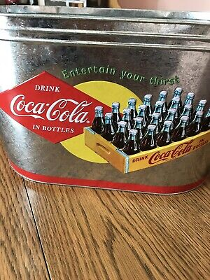 """Coca Cola Coke Ice Bucket Large Oval Galvanized Metal Tin Party Tub Cooler 16"""""""