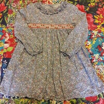 Next Age 4-5 Girls Grey Ditsy Floral Dress Traditional Smocking Long Sleeved