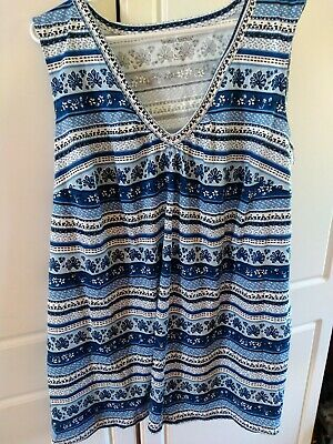 Woman Within Plus Size 2X (26/28) Blue and White Tank NWOT