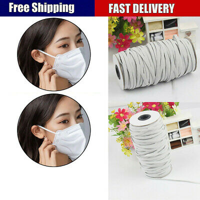 180m Flat Elastic Band Cord DIY Face Covers 4/5/6mm Width Knit Rope Sewing Craft