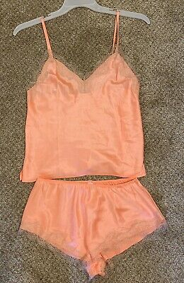 Victorias Secret Silk Pajama Short Set Coral Pjs Bridal Bachelorette Lace Cami S