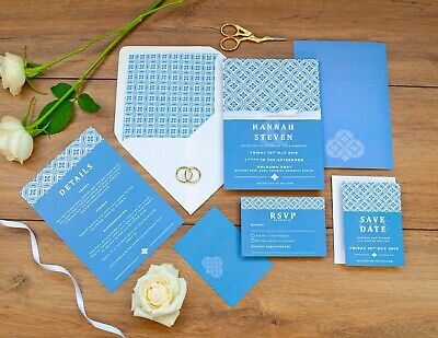 Personalised Luxury Wedding Invitation SET | Soft Lattice, Blue, Sophisticated