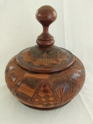 Large Carved Wood Bowl with Lid Palm Tree, Bird & Flowers