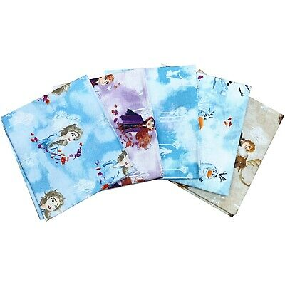 Disney Frozen Fat Quarter Bundle. 5 Piece. 100% Cotton Fabric Disney Fabric