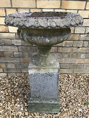 Stone Garden Urn On Decorative Plinth - Nicely Weathered.