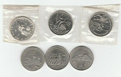 Russia 3 Roubles 1987 1989 1991 1992 Lot of 6 BU Prooflike Commemorative