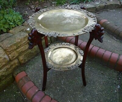 19th. Century Chinese  2 Tier Brass Topped Occasional /Lamp Table